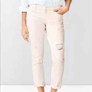 GAP Pale Pink 1969 Distressed Girlfriend Jeans
